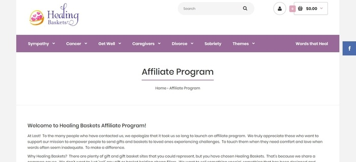 screenshot of the affiliate sign up page for Healing Baskets