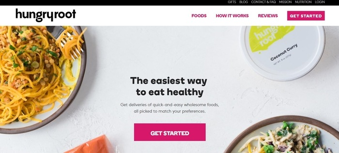 screenshot of the affiliate sign up page for Hungryroot