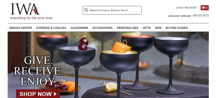 screenshot of the affiliate sign up page for IWA Wine