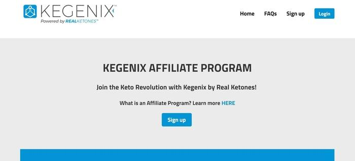 screenshot of the affiliate sign up page for Kegenix