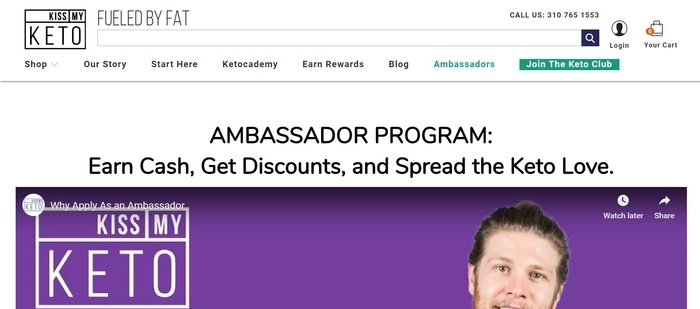 screenshot of the affiliate sign up page for Kiss My Keto