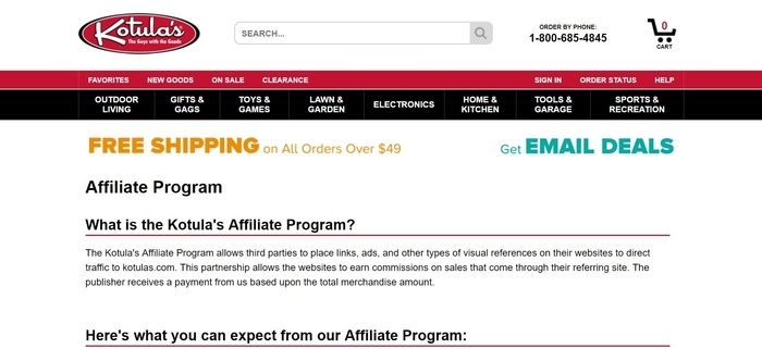 screenshot of the affiliate sign up page for Kotula's