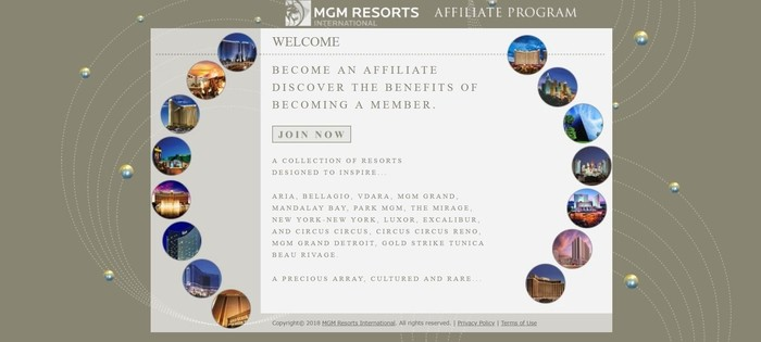 screenshot of the affiliate sign up page for MGM Resorts International