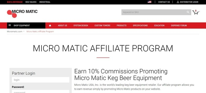 screenshot of the affiliate sign up page for Micro Matic