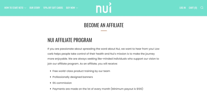 screenshot of the affiliate sign up page for Nui