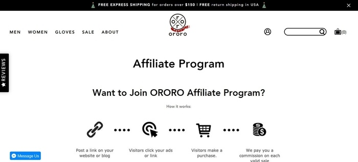 screenshot of the affiliate sign up page for Ororo
