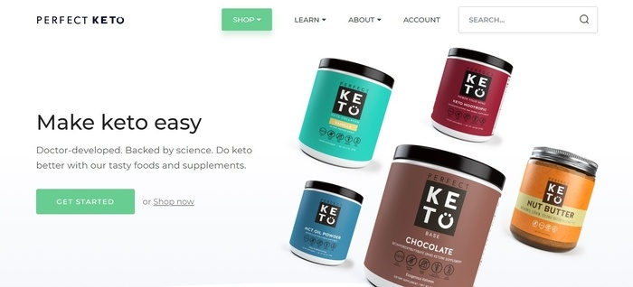 screenshot of the affiliate sign up page for Perfect Keto