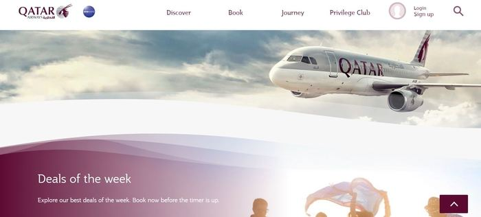 screenshot of the affiliate sign up page for Qatar Airways