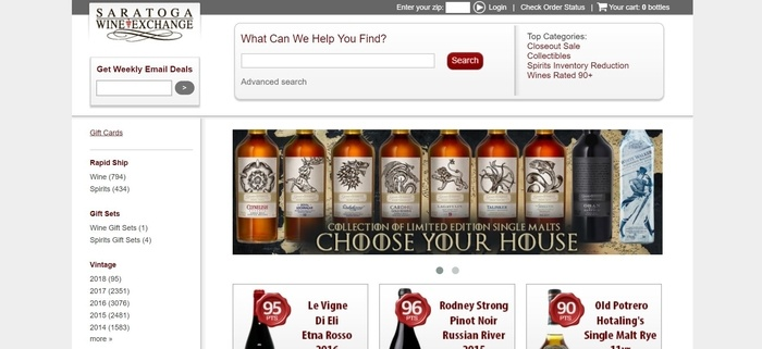 screenshot of the affiliate sign up page for Saratoga Wine Exchange