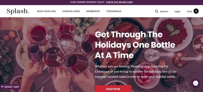 screenshot of the affiliate sign up page for Splash Wines