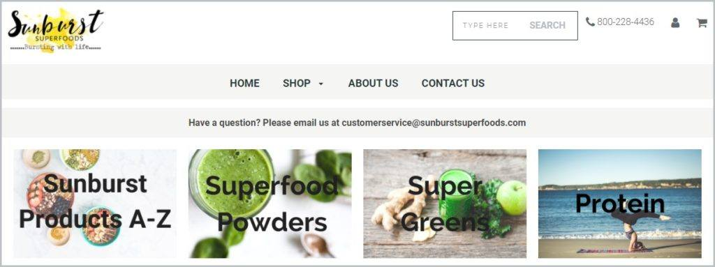 screenshot of SunburstSuperfoods.com homepage