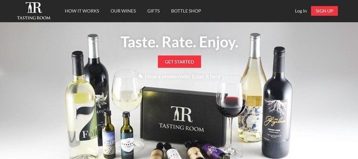 screenshot of the affiliate sign up page for Tasting Room by Lot18