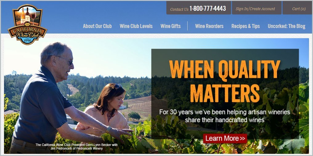screenshot of The California Wine Club homepage