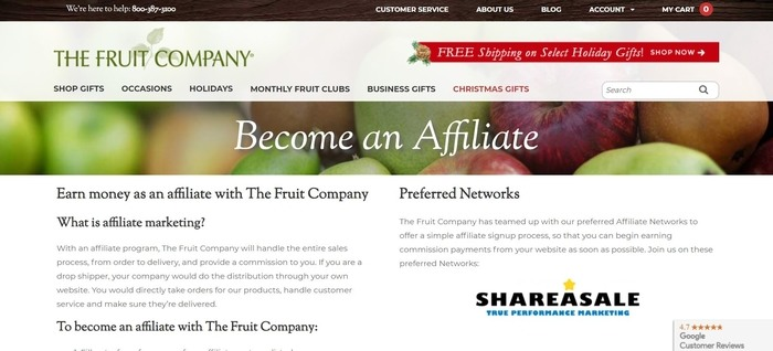 screenshot of the affiliate sign up page for The Fruit Company