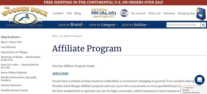 screenshot of the affiliate sign up page for The Wooden Duck Shoppe