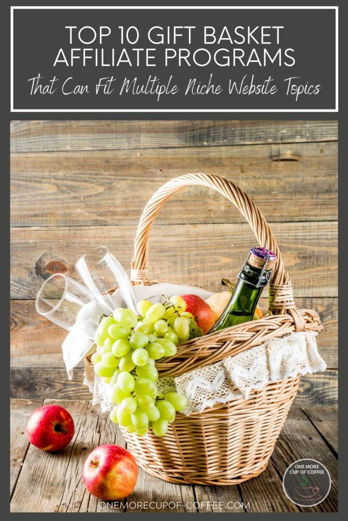 gift basket with wine, wine bottles, green grapes, and a couple of red apples beside it; with text overlay at the top