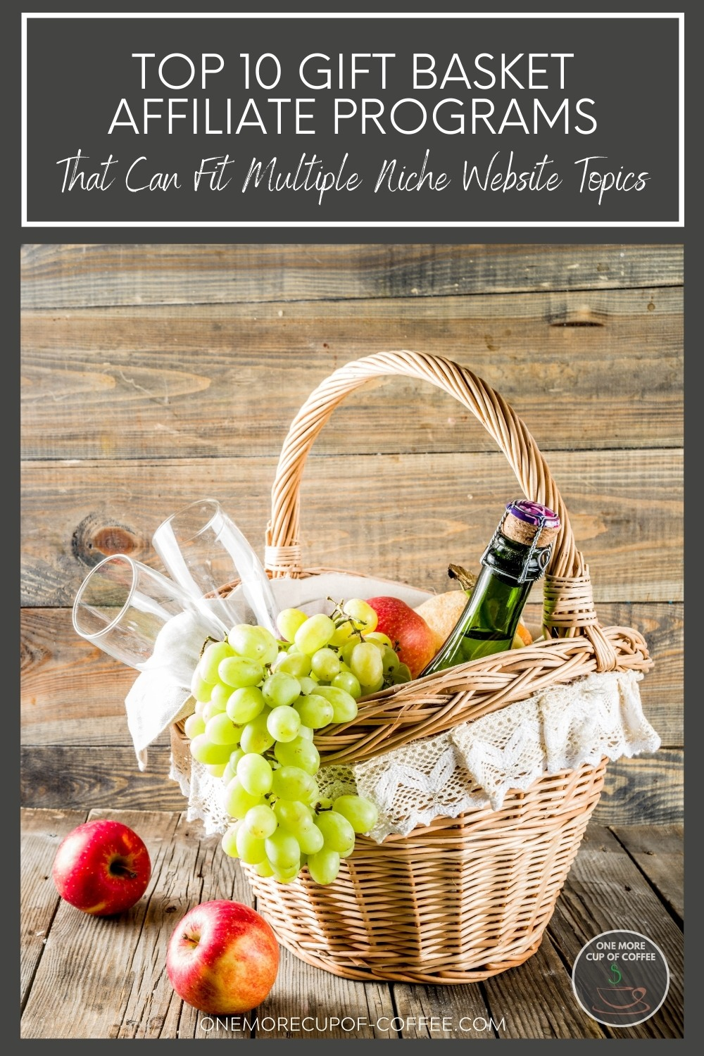 """gift basket with wine, wine bottles, green grapes, and a couple of red apples beside it; with text overlay at the top """"Top 10 Gift Basket Affiliate Programs That Can Fit Multiple Niche Website Topics"""""""