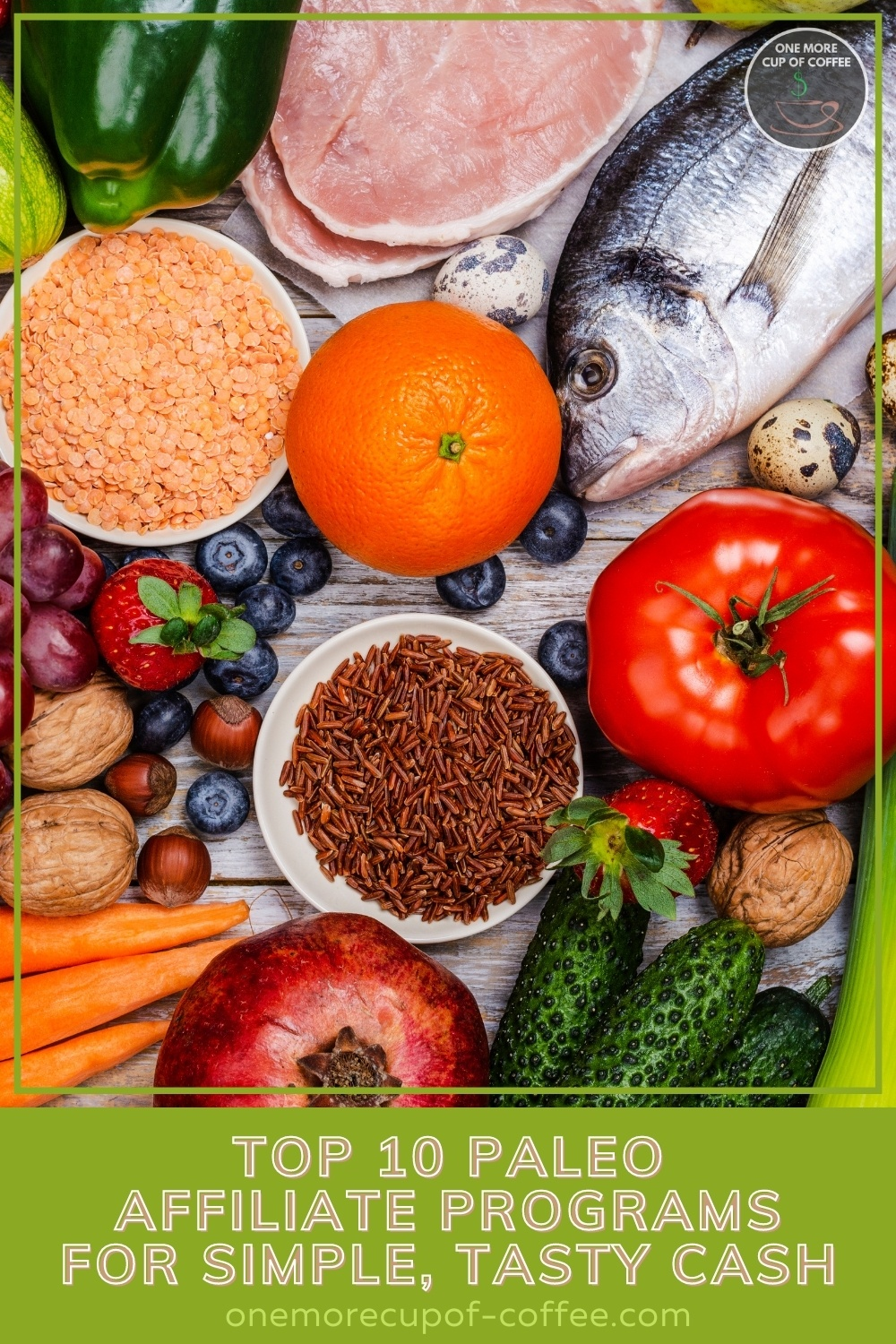 """top view image of different food for paleo diet, with text overlay on green banner """"Top 10 Paleo Affiliate Programs For Simple, Tasty Cash"""""""