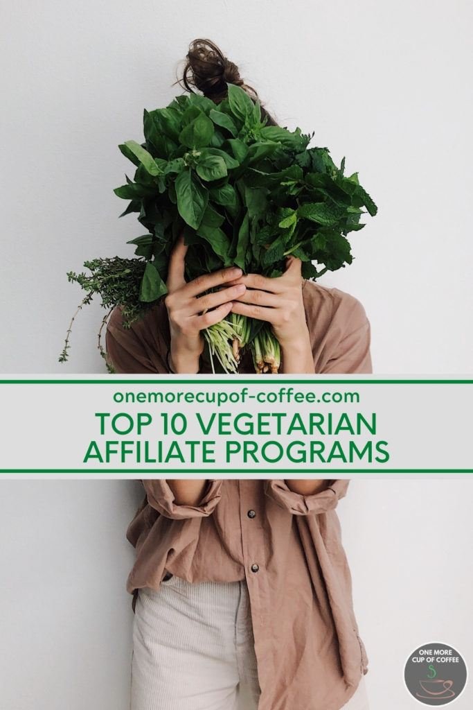 woman in brown long sleeves shirt holding a bunch of leafy vegetables holding up to her face, with text overlay on grey banner