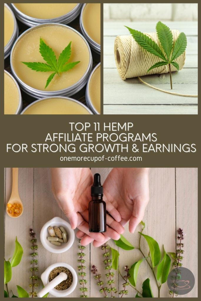 photo collage of hemp and hemp products, with text overlay