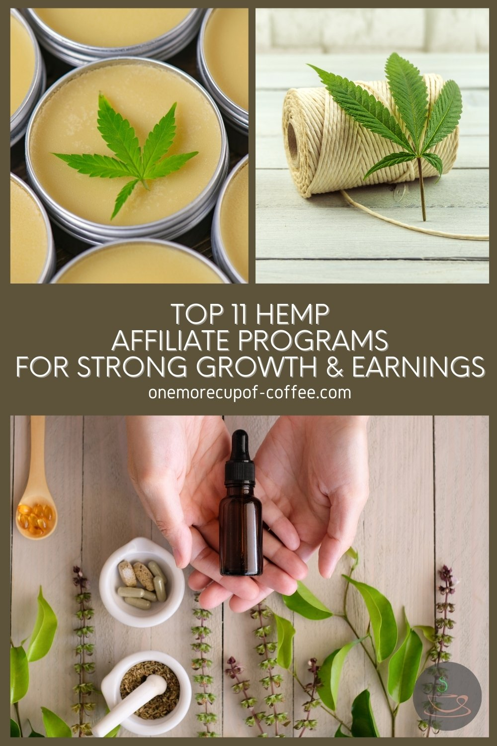 """photo collage of hemp and hemp products, with text overlay """"Top 11 Hemp Affiliate Programs For Strong Growth & Earnings"""""""
