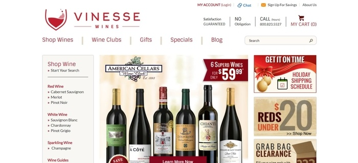 screenshot of the affiliate sign up page for Vinesse Wines