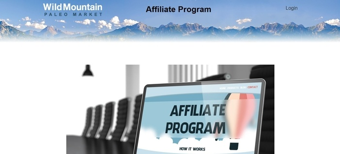 screenshot of the affiliate sign up page for Wild Mountain Paleo Market