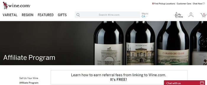 screenshot of the affiliate sign up page for Wine.com