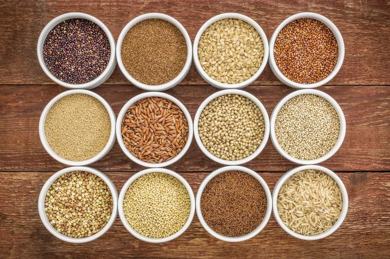 12 different gluten free grains include (quinoa, brown rice, millet, amaranth, teff, buckwheat, sorghum)