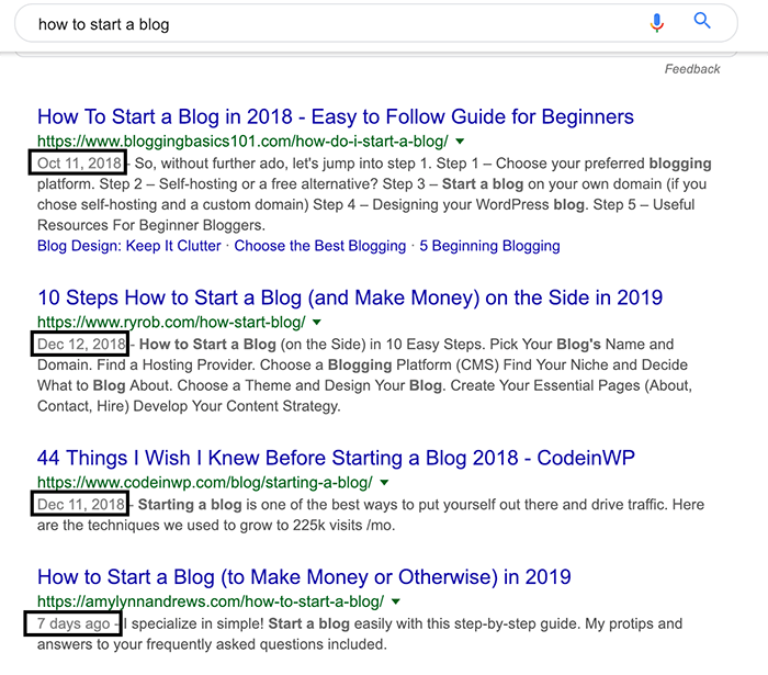 How post dates are displayed on the SERP