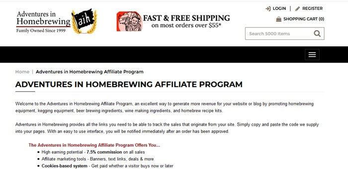 Adventures in Homebrewing Website Screenshot showing details about the affiliate program and what it offers