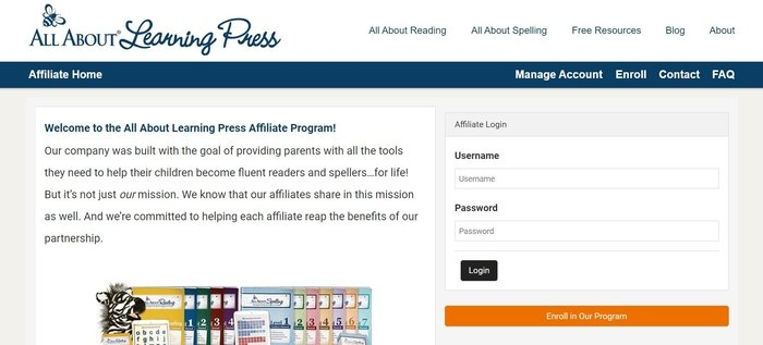 screenshot of the affiliate sign up page for All About Learning Press