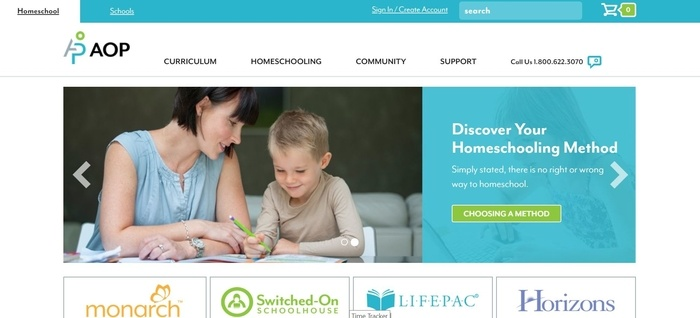 screenshot of the affiliate sign up page for Alpha Omega Publications