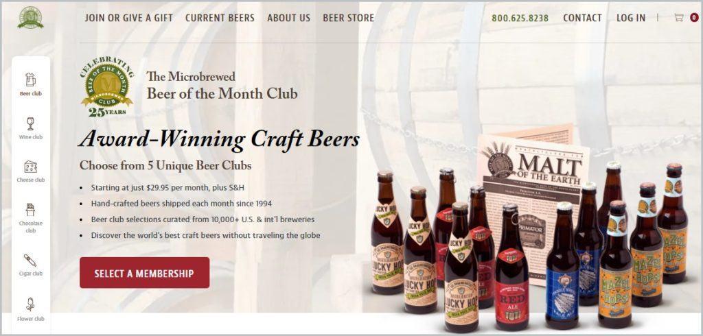 screenshot of Beer of the Month Club homepage