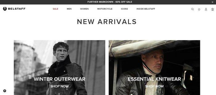 screenshot of the affiliate sign up page for Belstaff