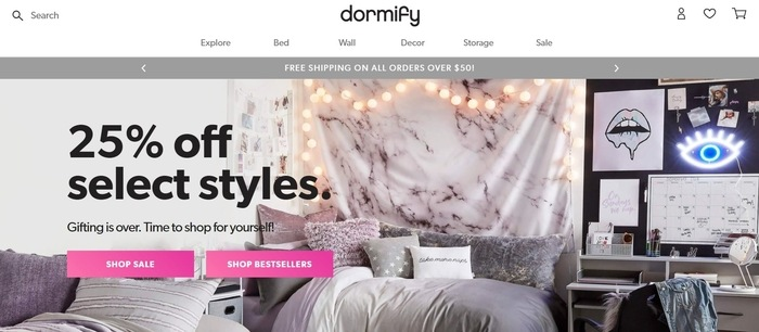screenshot of the affiliate sign up page for Dormify