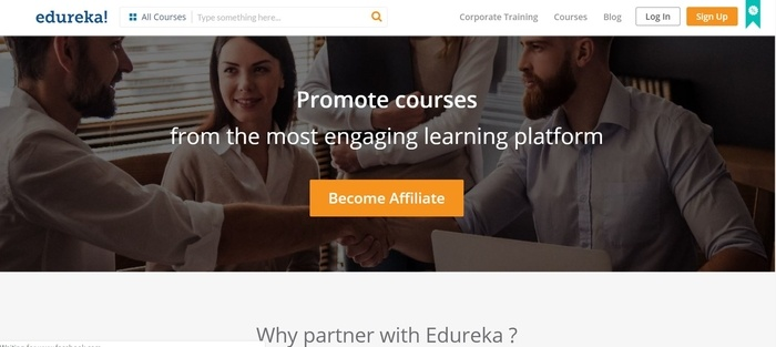 screenshot of the affiliate sign up page for Edureka