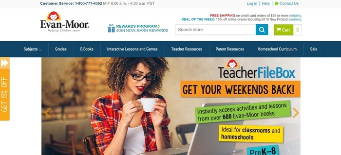screenshot of the affiliate sign up page for Evan-Moor Educational Publishers