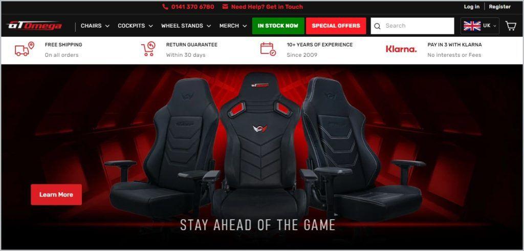 screenshot of GT Omega homepage