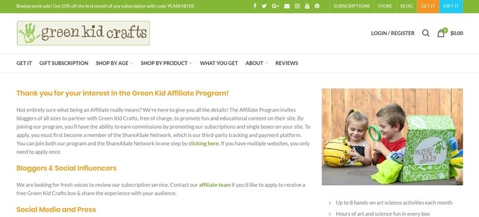 screenshot of the affiliate sign up page for Green Kid Crafts