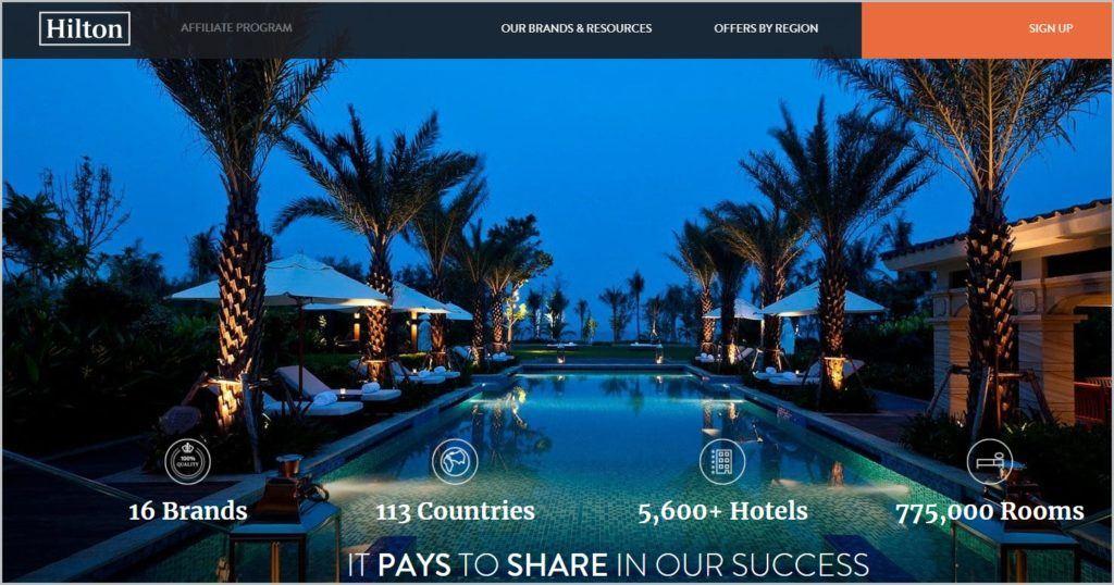 screenshot of Hilton homepage