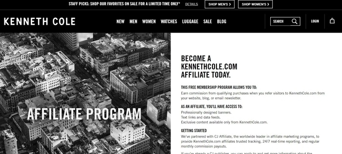 screenshot of the affiliate sign up page for Kenneth Cole