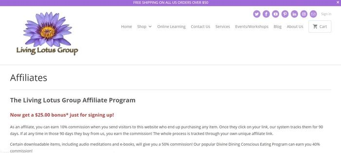 screenshot of the affiliate sign up page for Living Lotus Group