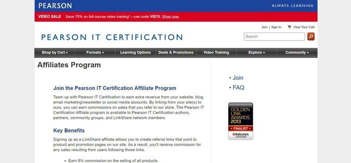 screenshot of the affiliate sign up page for Pearson IT Certification