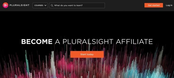 screenshot of the affiliate sign up page for Pluralsight