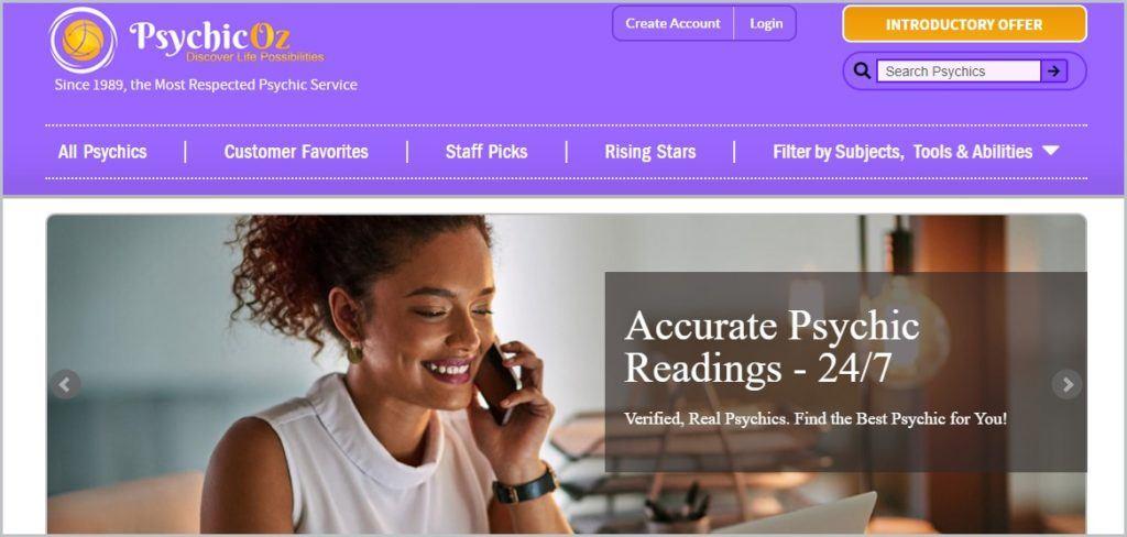 screenshot of PsychicOz.com homepage