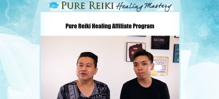 screenshot of the affiliate sign up page for Pure Reiki Healing