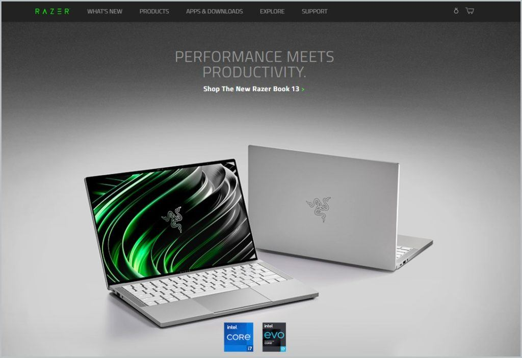 screenshot of Razer homepage