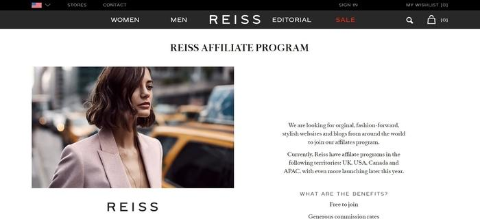 screenshot of the affiliate sign up page for Reiss