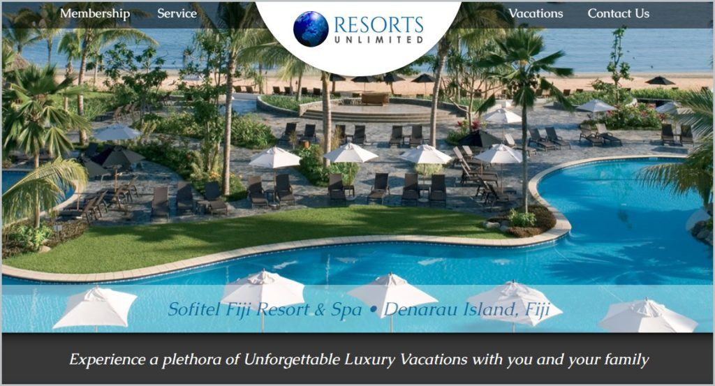 screenshot of Resorts Unlimited homepage